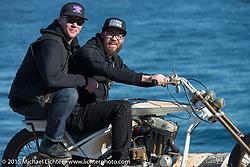 "Andy Carter on his 2015 HD Evo Sportster ""BIG BROTHER"" with Jeff Leighton on back before the Mooneyes Yokohama Hot Rod & Custom Show. Yokohama, Japan. December 5, 2015.  Photography ©2015 Michael Lichter."