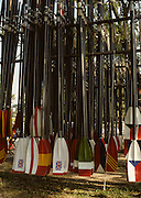 Bled, Slovenia, YUGOSLAVIA.  General Views of Rowing Blades, Oars, spoons painted in national colours, and hanging in racks.1989 World Rowing Championships, Lake Bled. [Mandatory Credit. Peter Spurrier/Intersport Images]