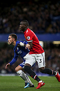 Eden Hazard of Chelsea and Eric Bailly of Manchester untied tussle .<br /> Premier league match, Chelsea v Manchester United at Stamford Bridge in London on Sunday 5th November 2017.<br /> pic by Kieran Clarke, Andrew Orchard sports photography.