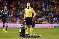 Real Sociedad's Iñigo Martinez talking with the referee during La Liga match between Real Madrid and Real Sociedad at Santiago Bernabeu Stadium in Madrid, Spain. January 29, 2017. (ALTERPHOTOS/BorjaB.Hojas)