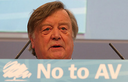 """© under license to London News Pictures. 06/03/2011: Kenneth Clarke addresses the audience at the Conservative Party's Spring Forum in Cardiff. Credit should read """"Joel Goodman/London News Pictures""""."""