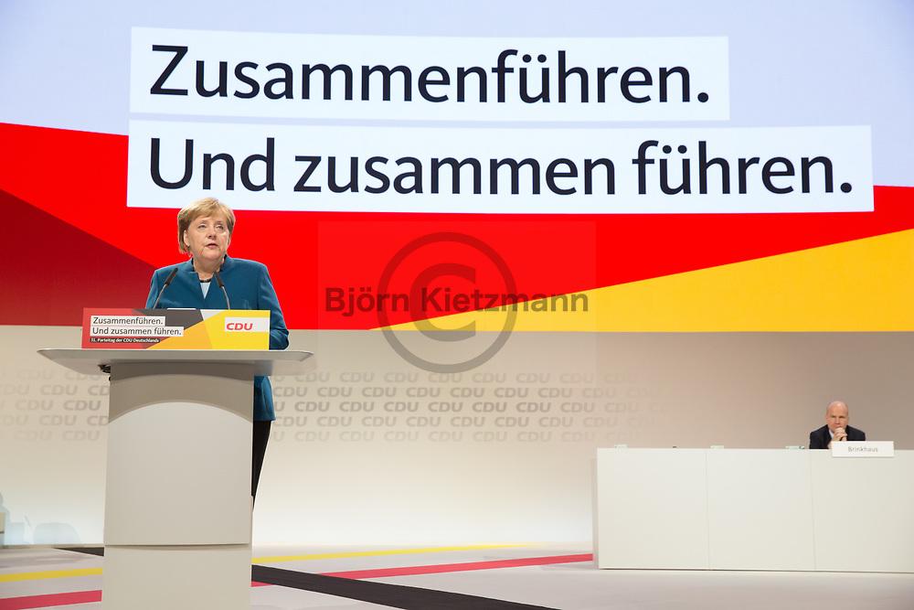 Hamburg, Germany - 07.12.2018<br /> <br /> Speech by Chancellor Angela Merkel at the 31st federal party conference of the CDU Germany in Hamburg. After 18 years, Angela Merkel resigns as CDU party leader.<br /> <br /> Rede von Bundeskanzlerin Angela Merkel auf dem 31. Bundesparteitag der CDU Deutschland in Hamburg. Nach 18 Jahren tritt Angela Merkel als Parteivorsitzende zurueck.<br /> <br /> Photo: Bjoern Kietzmann