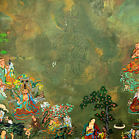 Asia, Bhutan, Thimpu. Tangkha painting in porgress at the National Institute for Zorig Chusum, or traditional arts and crafts.