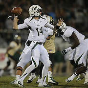 South Florida Bulls quarterback Mike White (14) during an NCAA football game between the South Florida Bulls and the 17th ranked University of Central Florida Knights at Bright House Networks Stadium on Friday, November 29, 2013 in Orlando, Florida. (AP Photo/Alex Menendez)