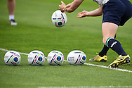 a close up view as Eoin Reddan of Ireland passes a ball during the Ireland rugby team training at Newport High School in Newport , South Wales on Wed 7th October 2015.the team are preparing for their next RWC match against France this weekend.<br /> pic by  Andrew Orchard, Andrew Orchard sports photography.