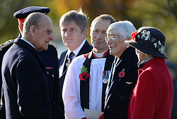 The Duke of Edinburgh meets Guinea Pig Club member Dr Sandy Saunders (second from right) at the National Memorial Arboretum in Staffordshire where he is dedicating a memorial to the Guinea Pig Club, formed in 1941 by men being treated for burns at a hospital in Sussex, as well as meeting with surviving members of the club and their guests.