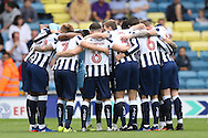 Millwall players huddle before k/o. EFL Skybet football league one match, Millwall v Bradford city at The Den in London on Saturday 3rd September 2016.<br /> pic by John Patrick Fletcher, Andrew Orchard sports photography.