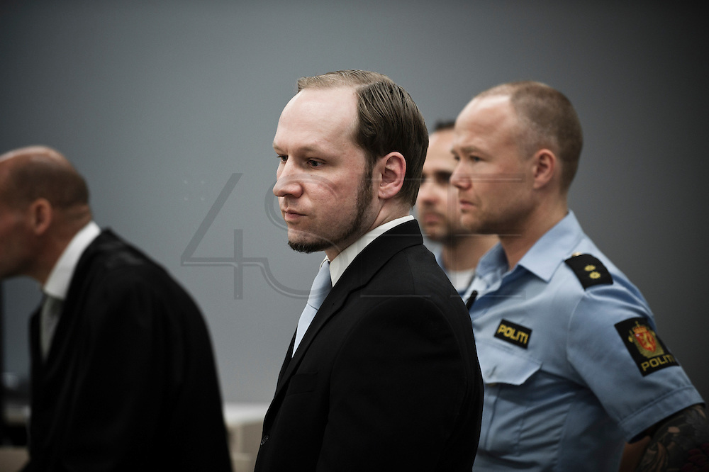 June 22, 2012 - Oslo, Norway: Norwegian terrorist and right wing extremist Anders Behring Breivik appears in court during during the last day of his ten week trial in Oslo courthouse.