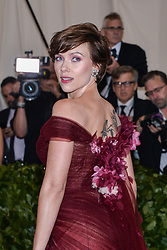 Scarlett Johansson walking the red carpet at The Metropolitan Museum of Art Costume Institute Benefit celebrating the opening of Heavenly Bodies : Fashion and the Catholic Imagination held at The Metropolitan Museum of Art  in New York, NY, on May 7, 2018. (Photo by Anthony Behar/Sipa USA)