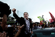 José Socrates, the former Portuguese prime minister and leader of the Socialist Party (center-left wings), run for the parliamentary election. In the picture a moment during his campaign in Braga.