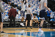 Amanda Green, basketball operations coordinator for the Oklahoma City Thunder, looks on during warmups before a playoff game against the Dallas Mavericks in Dallas, Texas on April 21, 2016. (Cooper Neill for The New York Times)