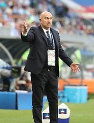 SAMARA, June 25, 2018  Head coach Stanislav Cherchesov of Russia reacts during the 2018 FIFA World Cup Group A match between Uruguay and Russia in Samara, Russia, June 25, 2018. (Credit Image: © Bai Xueqi/Xinhua via ZUMA Wire)
