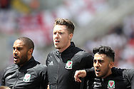 Wales players Ashley Williams (l) Wayne Hennessey © and JNeil Taylor (r) sing the Welsh national anthem ahead of the game. UEFA Euro 2016, group B , England v Wales at Stade Bollaert -Delelis  in Lens, France on Thursday 16th June 2016, pic by  Andrew Orchard, Andrew Orchard sports photography.