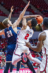 NORMAL, IL - November 29: Zach Copeland shoots while defended by Jesus Castillo during a college basketball game between the ISU Redbirds and the Prairie Stars of University of Illinois Springfield (UIS) on November 29 2019 at Redbird Arena in Normal, IL. (Photo by Alan Look)