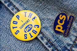 Badges in support of a Public and Commercial Services Union strike,