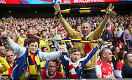 Arsenal fans celebrate after the 2nd goal during the The FA Cup match between Arsenal and Aston Villa at Wembley Stadium, London, England on 30 May 2015. Photo by Phil Duncan.