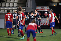 Olympique Lyonnais´s players celebrate a goal (0-1) during UEFA Women´s Champions League soccer match between Atletico de Madrid and Olympique Lyonnais, in Madrid, Spain. November 11, 2015. (ALTERPHOTOS/Victor Blanco)