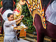 16 JULY 2016 - UBUD, BALI, INDONESIA: A woman says a prayer in front of a sarcophagus that was burned in the mass cremation in Ubud Saturday. Local people in Ubud exhumed the remains of family members and burned their remains in a mass cremation ceremony Wednesday. Almost 100 people were cremated and laid to rest in the largest mass cremation in Bali in years this week. Most of the people on Bali are Hindus. Traditional cremations in Bali are very expensive, so communities usually hold one mass cremation approximately every five years. The cremation in Ubud concluded Saturday, with a large community ceremony.     PHOTO BY JACK KURTZ