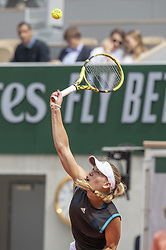 Caroline Wozniacki of Denmark in action during her first-round match at the Roland-Garros 2019, Grand Slam Tennis Tournament, women's draw on May 27, 2019 at Roland-Garros stadium in Paris, France. Photo by ABACAPRESS.COM
