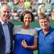 March 13, 2016, Palm Springs, CA:<br /> Tennis Hall of Famer Lindsay Davenport is presented with a ring during the International Tennis Hall of Fame Ring ceremony during the 2016 BNP Paribas Open at the Indian Wells Tennis Garden in Indian Wells, California Sunday, March 13, 2016.<br /> (Photos by Billie Weiss/BNP Paribas Open)