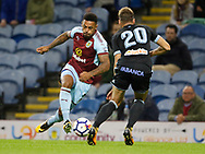 Burnley's Andre Gray takes the ball past Celta Vigo's Sergi Gomez during the Pre-Season Friendly match between Burnley and Celta Vigo at Turf Moor, Burnley, England on 1 August 2017. Photo by Paul Thompson.