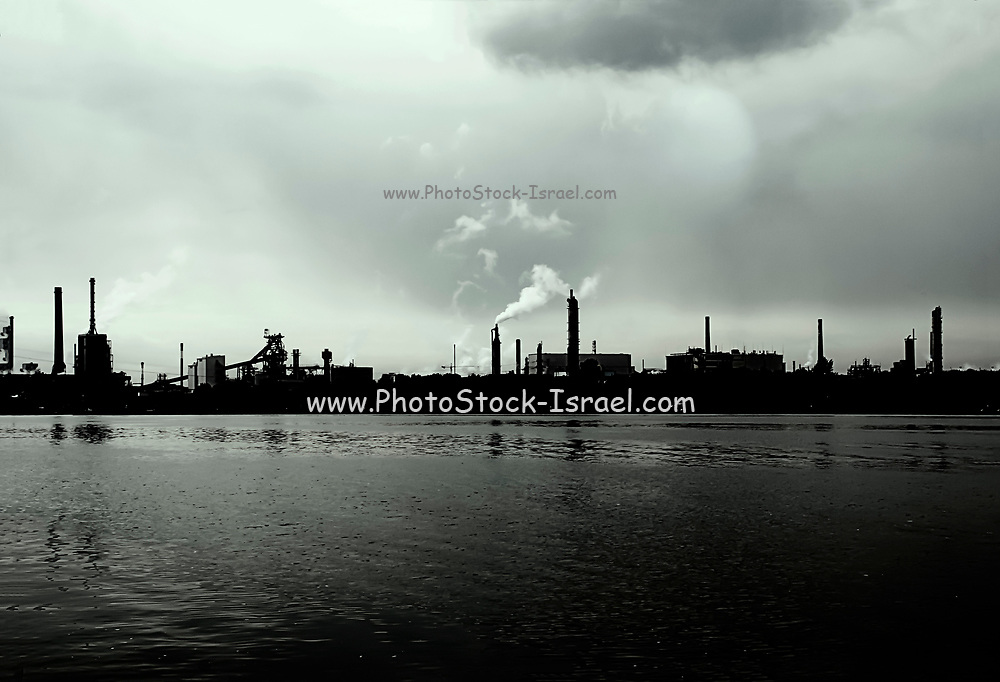 Industrial Zone in Linz Austria. The Danube river in the foreground Digitally Enhanced