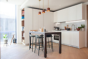 The kitchen in one of the show apartments in the Television Centre Pavilion, Shepherd's Bush, London, UK CREDIT: Vanessa Berberian for The Wall Street Journal. TVCENTRE