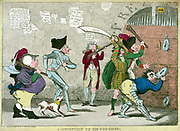 'A convention of the not-ables' Print shows Lord North, Edmund Burke, Charles Fox, the Prince of Wales, and others attempting to break into the royal treasury. etching  S.W. Fores No. 3 Piccadilly, 1787 April 28th