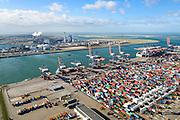 Nederland, Zuid-Holland, Rotterdam, 23-10-2013; Maasvlakte met Euromax Terminal Rotterdam aan de Yangtzehaven.<br /> De terminal van European Container Terminals (ECT) is een automatische terminal  Automatisch Gestuurde Voertuigen (AGV's) . In de achtergrond de Tweede Maasvlakte (MV2) en de twee centrales van E.ON.<br /> Maasvlakte with Euromax Terminal Rotterdam and Yangtzehaven. The terminal of European Container Terminals (ECT) is an automatic terminal with Automated Guided Vehicles (AGVs). In the background the Maasvlakte (MV2).<br /> luchtfoto (toeslag op standard tarieven);<br /> aerial photo (additional fee required);<br /> copyright foto/photo Siebe Swart