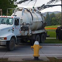 """Oil """"skimmer"""" gatheres up oil spill in Liberty Park, Salt Lake City"""