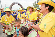 Oct. 3, 2009 - CHONBURI, THAILAND: A traditional drum line performs in the parade during the first day of races at the Chonburi Buffalo Races Festival, Saturday, Oct. 3. Contestants race water buffalo about 200 meters down a muddy straight away. The buffalo races in Chonburi first took place in 1912 for Thai King Rama VI. Now the races have evolved into a festival that marks the end of Buddhist Lent and is held on the first full moon of the 11th lunar month (either October or November). Thousands of people come to Chonburi, about 90 minutes from Bangkok, for the races and carnival midway. Photo by Jack Kurtz / ZUMA Press