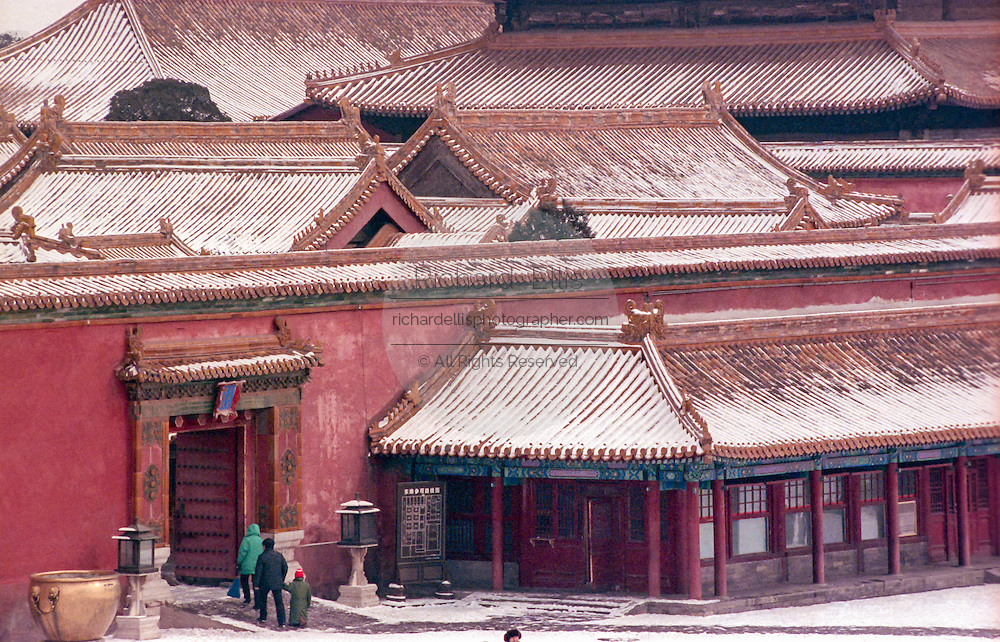The Forbidden City during a snow storm in Beijing, China