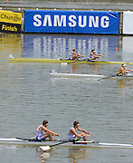 Chungju, South Korea Men and Women's  pairs, spares race 2013 FISA World Rowing Championships,  at the Tangeum Lake International Regatta Course. 12:53:31  Saturday  24/08/2013 [Mandatory Credit. Peter Spurrier/Intersport Images]