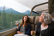 Rocky Mountaineer is a Canadian tour company that operates trains on four rail routes through British Columbia and Alberta.  Pictured here is the route from Kamloops, British Columbia to Banff, Alberta, Canada. Gold Leaf service offers a domed car with outstanding views of the surrounding terrain.