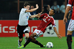 28.09.2011, Stadion Giuseppe Meazza, Mailand, ITA, UEFA CL, Gruppe H, ITA, UEFA CL, AC Mailand (ITA) vs FC Viktoria Pilsen (CZE), im Bild Vaclav PILAF Plzen, Urby EMANUELSON Milan. // during the UEFA Champions League game, group H, AC Mailand (ITA) vs FC Viktoria Pilsen (CZE) at Giuseppe Meazza stadium in Mailand, Italy on 2011/09/28. EXPA Pictures © 2011, PhotoCredit: EXPA/ InsideFoto/ Alessandro Sabattini +++++ ATTENTION - FOR AUSTRIA/(AUT), SLOVENIA/(SLO), SERBIA/(SRB), CROATIA/(CRO), SWISS/(SUI) and SWEDEN/(SWE) CLIENT ONLY +++++