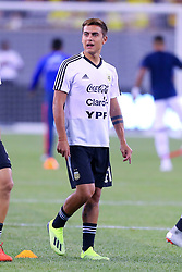 September 11, 2018 - East Rutherford, NJ, U.S. - EAST RUTHERFORD, NJ - SEPTEMBER 11:  Argentina forward Paulo Dybala (21) prior to the International Friendly Soccer game between Argentina and Colombia on September 11, 2018 at MetLife Stadium in East Rutherford, NJ.   (Photo by Rich Graessle/Icon Sportswire) (Credit Image: © Rich Graessle/Icon SMI via ZUMA Press)