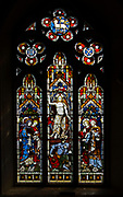 Church of Saint Peter, Baylham, Suffolk, England, UK - east window stained glass c 1871 by Clayton and Bell, Ascension of Jesus Christ