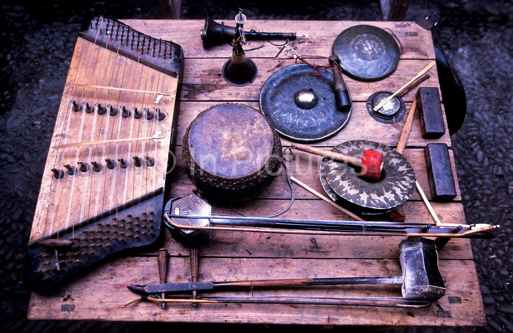 Still life of traditional Chinese musical instruments during the Haka Festival, Fujian province, China