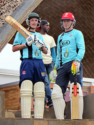 BEST QUALITY AVAILABLE Rwanda Cricket Stadium Foundation (RCSF) director Alby Shale (left) and England international Sam Billings prepare to open the batting during a celebrity T20 match following the official opening of a new cricket stadium in Kigali, Rwanda.