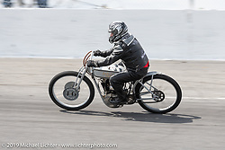 Tom Keefer racing his Franklin Church Choppers 1916 Model J Harley-Davidson board track style racer in the Sons of Speed Vintage Motorcycle Races at New Smyrina Speedway. New Smyrna Beach, USA. Saturday, March 9, 2019. Photography ©2019 Michael Lichter.