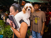 "05 APRIL 2014 - BANGKOK, THAILAND:   A woman and her dog in Khlong Toey Market in Bangkok. Khlong Toey (also called Khlong Toei) Market is one of the largest ""wet markets"" in Thailand. The market is located in the midst of one of Bangkok's largest slum areas and close to the city's original deep water port. Thousands of people live in the neighboring slum area. Thousands more shop in the sprawling market for fresh fruits and vegetables as well meat, fish and poultry.     PHOTO BY JACK KURTZ"