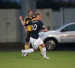 Falkirk's Craig Sibbald scoring their third goal.<br /> Falkirk 4 v 1 Livingston, Scottish Championship game played today at the Falkirk Stadium.<br /> ©Michael Schofield.