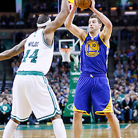 01 March 2013: Golden State Warriors power forward David Lee (10) passes the ball over Boston Celtics power forward Chris Wilcox (44) during the Boston Celtics 94-86 victory over the Golden State Warriors at the TD Garden, Boston, Massachusetts, USA.