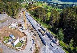 THEMENBILD - die Baustelle des Chalet-Großprojektes, Six Senses Kitzbühel Alps, aus der Vogelperspektive. Pass Thurn, Mittersill am Dienstag 23. Juni 2020 // the construction site of chalet major project, Six Senses Kitzbuehel Alps at Pass Thurn, from a bird's eye view. Mittersill, Austria on Tuesday June 23, 2020. EXPA Pictures © 2020, PhotoCredit: EXPA/ Johann Groder