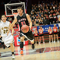 031214  Adron Gardner/Independent<br /> <br /> Grants Pirate Rosendo Jaramiillo (21) drives full court against the St. Pius X Sartans during the state high school basketball tournament at The Pit in Albuquerque Wednesday.