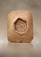 Hittite cuneiform clay tablet,  Hattusa, Hittite  Kingdom 1600-1200 BC, Bogazkale archaeological Museum, Turkey.