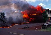 House on fire from lava, Kilauea Volcano, Island of Hawaii<br />