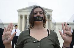 October 6, 2018 - Washington, DC, U.S - Protesters against US Supreme Court nominee Brett Kavanaugh demonstrate at the US Supreme Court in Washington, DC, on October 6, 2018. (Credit Image: © Riccardo SaviZUMA Wire)