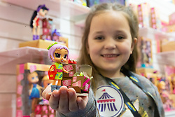 Freya Ryan, 7, who loves Boxy Girls at the Toy Fair at Kensington Olympia in London, the UK's largest dedicated game and hobby exhibition featuring the hottest and most anticipated products for the year ahead. London, January 22 2019.