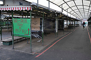 Bullring open market, the fruit and vegetable outdoor market is closed for business in Birmingham city centre is virtually deserted due to the Coronavirus outbreak on 31st March 2020 in Birmingham, England, United Kingdom. Following government advice most people are staying at home leaving the streets quiet, empty and eerie. Coronavirus or Covid-19 is a new respiratory illness that has not previously been seen in humans. While much or Europe has been placed into lockdown, the UK government has announced more stringent rules as part of their long term strategy, and in particular social distancing.